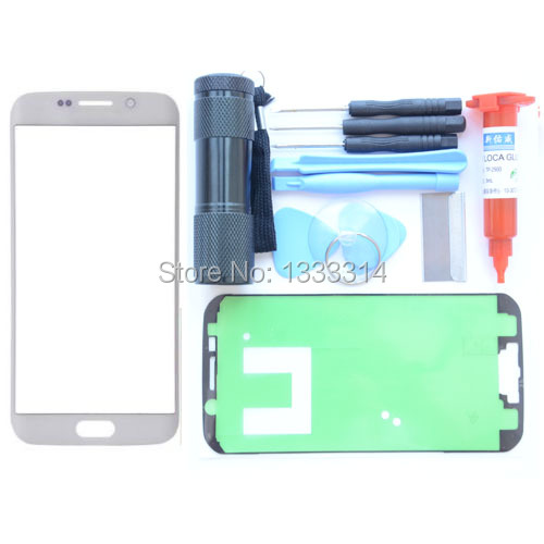 Replacement Screen Front Glass Outer Lens Repair Kit For Samsung Galaxy S6 Edge White UV Torch