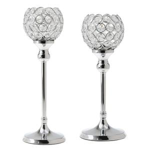 Image 3 - 2Pcs Stunning Metal Votive Tealight Crystal Candle Holder Wedding Decorative Centerpiece 35cm + 30cm Silver