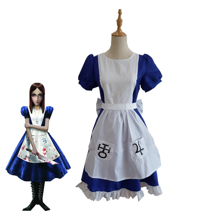 Hot Game Alice Madness Returns Cosplay Costume Blue Maid Dress Restaurant Servant Halloween Carnival Uniforms Outfit Custom Made
