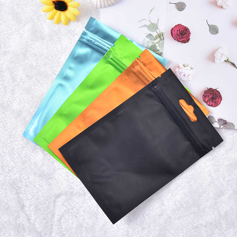 4 Colors Flat Zip Lock Package Bag Foil Food Packaging Bag Heat Seal Aluminum Foil Ziplock Bags Food Grade 8*13cm/10*18cm/9*15cm