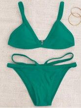 COSPOT Sexy Women Swimwear Low Waist Swimsuit Soft Pads Bathing Suit Green Solid Bikinis Mujer Swim Moderate Bikini Set