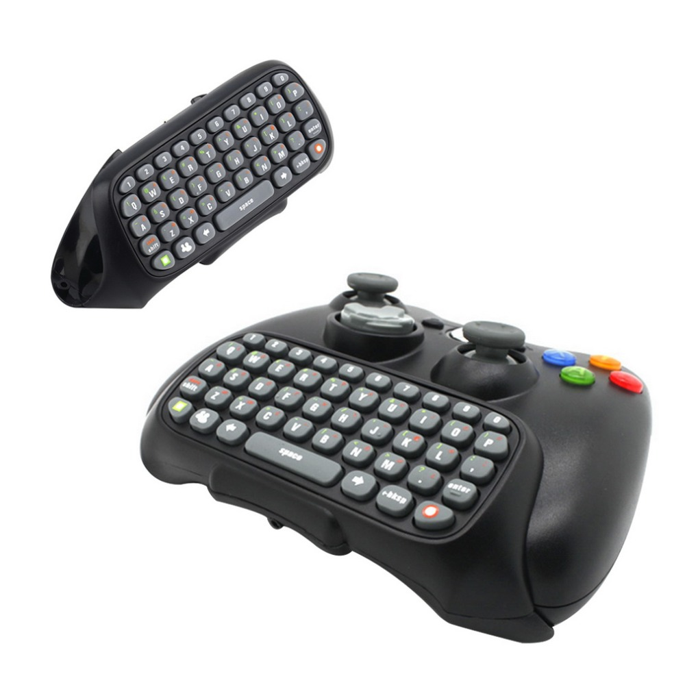 Mini Keyboard Wireless Controller Text Messenger Keyboard 47 keys Chatpad Keypad for Xbox 360 Game Controller Black