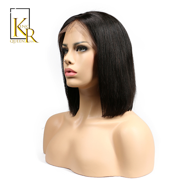 Short Bob Wigs Brazilian Remy Hair Straight Lace Front Human Hair Wigs For Women Natural Black Color King Rosa Queen