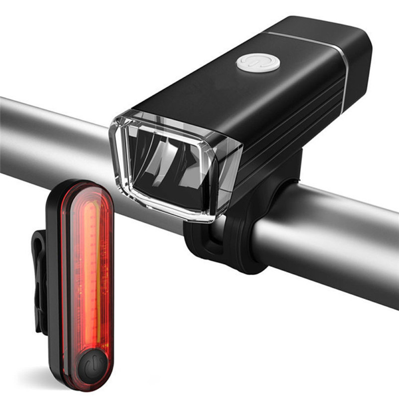 Bike Light Front Tail Lights Usb Led Rechargeable Set