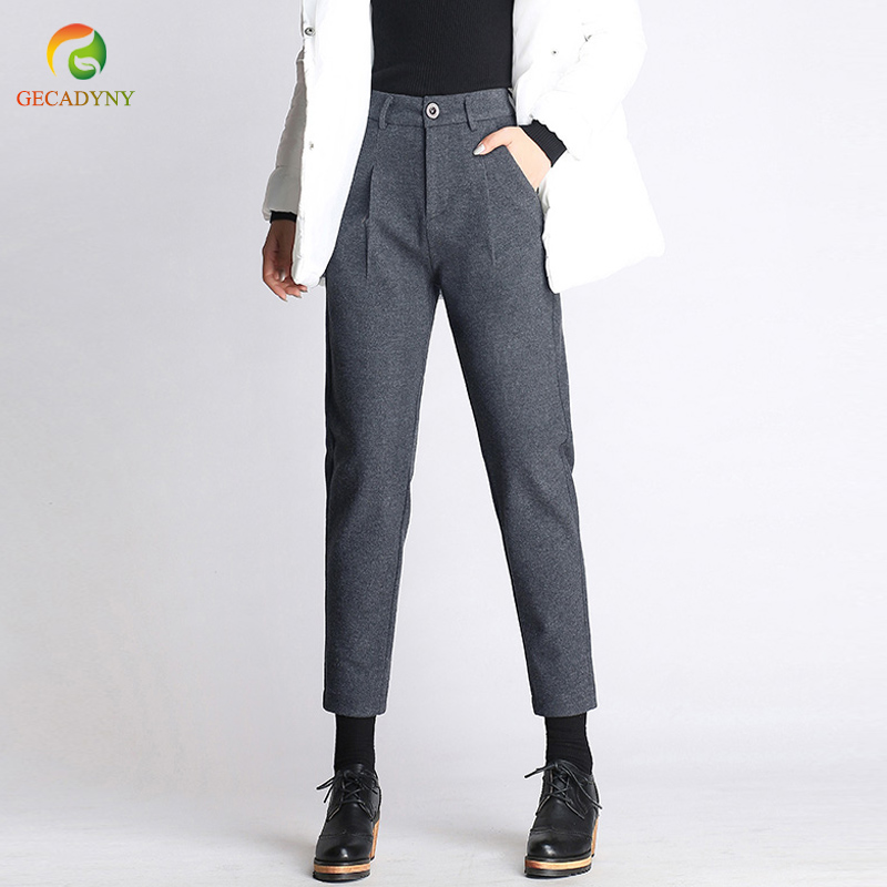 2019 Autumn Winter New Women Woolen   Pants   Female Large Size Solid Casual Trousers Black/Gray Harem   Pants   Wool   Pants     Capris   S-3XL