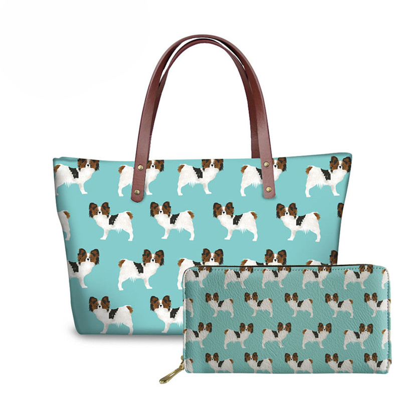 NOISYDESIGNS Women Handbags Papillon Printing Dogs Luxury Handbags Women Bags Designer Shoulder Bag for Female Big Size Purse in Shoulder Bags from Luggage Bags