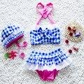 Bebé Chica de Moda de Verano Traje de Baño de Dos Piezas Con el Conjunto de Sombrero Princesa Playa traje de Baño Del Niño Lindo de Los Niños traje de Baño Bikini S2035