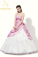 New In Stock Cheap Taffeta And Tulle Quinceanera Dresses Ball Gown Handmade Flowers And Embroidery Sweet 16 Dresses QA980