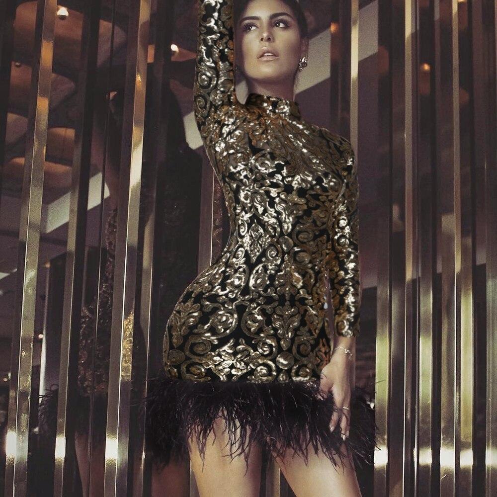 bfa2c3e86ff Femmes Mini Longues Celebrity Lacée Robe Manches D or 2019 Paillettes Club  Nouveau De Élégant Soirée À Automne Or Sexy PwqEC46