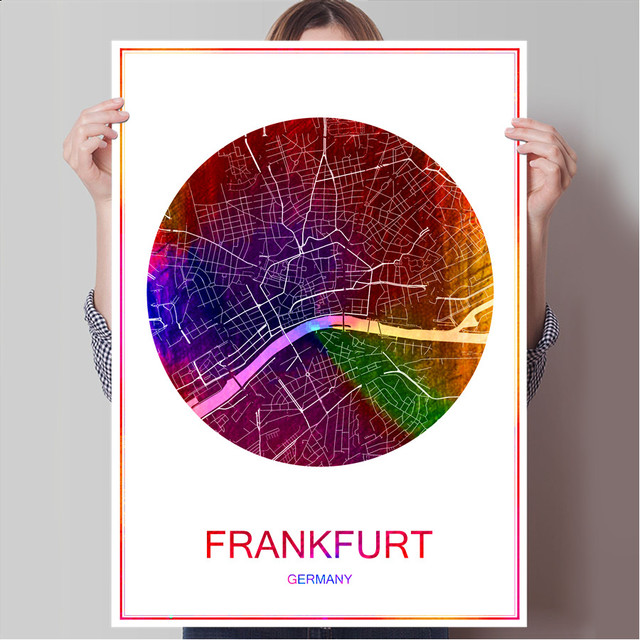 World famous city map frankfurt germany print poster print on paper canvas wall sticker bar pub
