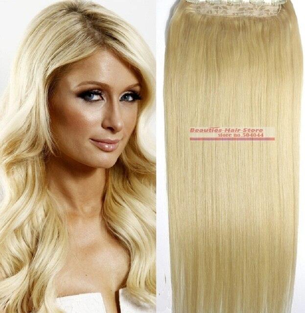 """O envio gratuito de 16 """"-28"""" 1 pcs set #613 100% remy indiano macio grampos de cabelo em/sobre extensões de cabelo humano 70g 80g 100g 120g 140g 160g"""