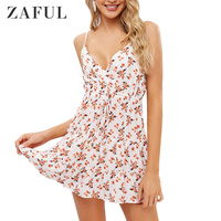 ZAFUL New Drawstring Floral Surplice Cami Dress Sundress Women Fit And Flare Print Dress Casual Vacation Strap Mini A Line Dress
