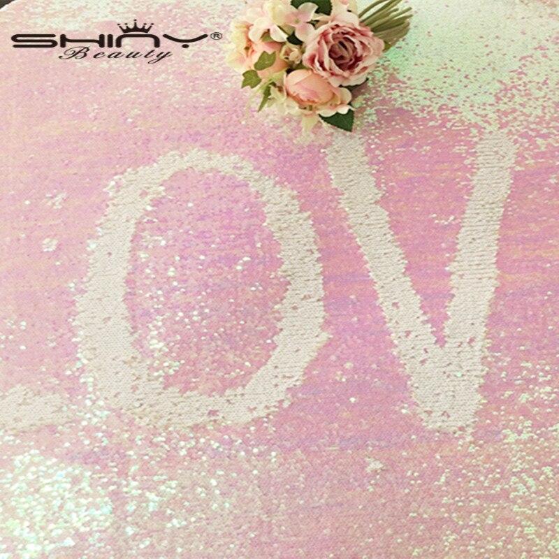 Tissu sirène ShinyBeauty réversible 72x72 pouces changé nappe de paillettes de couleur blanche pour la décoration de mariage/anniversaire & ar