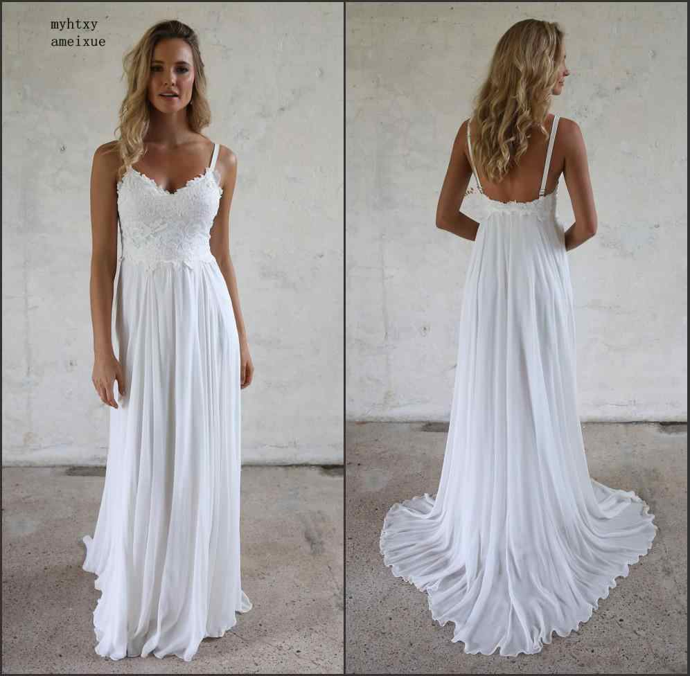 Cheap Wedding Gowns.Cheap Simple Style Lace Wedding Dress 2019 Hot White Appliques Sweetheart Backless Bride Dress With Straps Robe De Mariee China