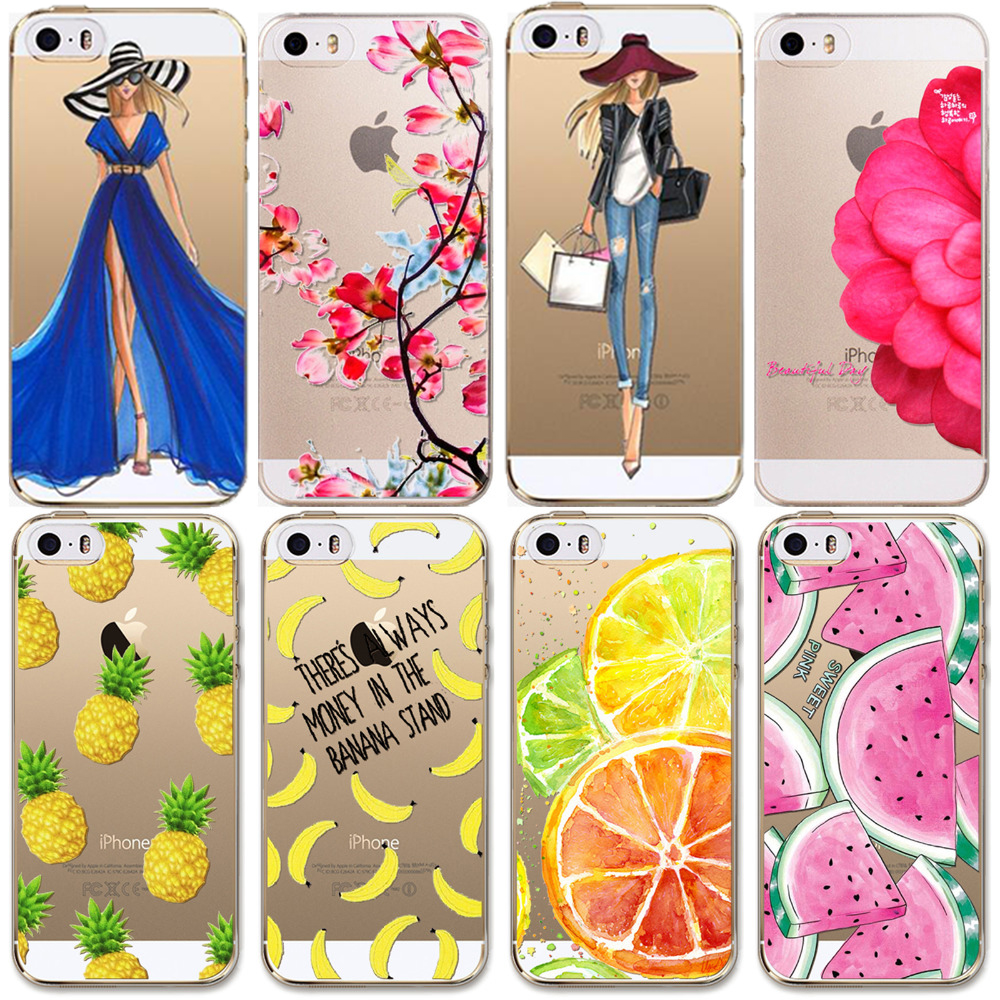 newest collection 4423c 83947 US $2.41 |For Apple iPhone 6 6s 5 5S SE Case Soft TPU Flowers Friuts Girls  Painted Phone Skin Transparent Clear Back Case Fundas Cover-in Fitted Cases  ...