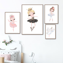 Girl Ballet Flamingo Nursery Wall Art Canvas Painting Cartoon Nordic Posters And Prints Wall Pictures Girl Baby Kids Room Decor baby girl room decor nordic cartoon pictures for kids room posters and prints nursery simple quote cat wall art canvas painting