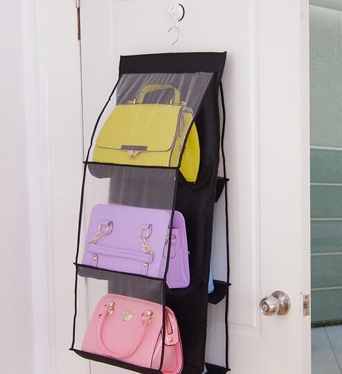 New Arrive 6 Pockets Hanging Storage Bag Purse Handbag Tote Bag Storage  Organizer Closet Rack Hangers