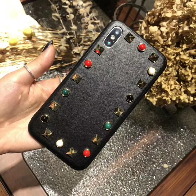 best cheap dd0cc 95fd6 Luxury Valentino rock & roll rivet Metal leather cover case for iphone 6 S  6S plus 7 7plus 8 8plus X Diamond jewelry phone cases-in Rhinestone Cases  ...