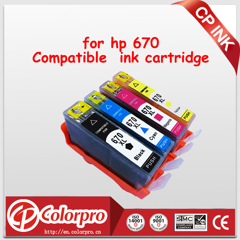 CP 4PK 670 Compatible for 670XL Ink Cartridge for <font><b>hp</b></font> Deskjet 3525 4615 4625 5525 <font><b>6520</b></font> 6525 printer image