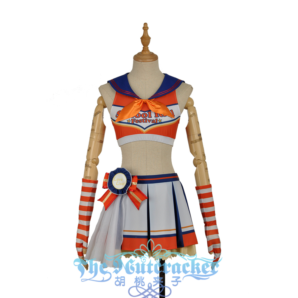 In Stock Takami Chika Cosplay Costume Girl Orange Skirt LoveLive SunShine Aqours Cheering Cheer team Cheerleaders