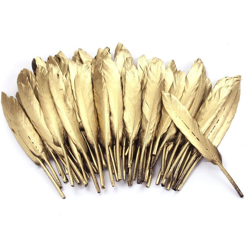 Wholesale Gold Silver Color Goose/Duck Feathers DIY Crafts Jewelry Accessories wedding Decoration Plumes diy Silver Gold feather