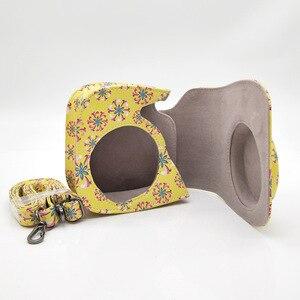 Image 3 - Capa de couro pu flor para câmera, para fujifilm instax mini 9 8 plus, filme instantâneo com acessórios de bolso e correia