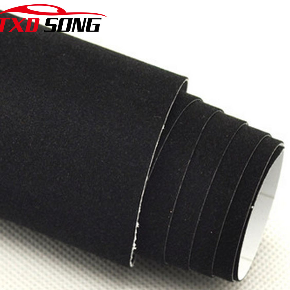 Premium Quality Black Velvet Vinyl Wrap Film Velvet Film Self-adhesive Car Sticker By Free Shipping 10/20/30/40/50/60x152cm/lot