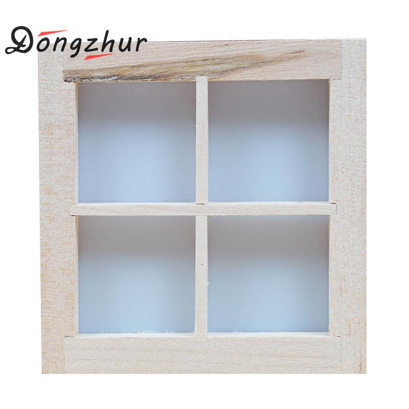 Dongzhur Dollhouse Miniatures 1 12 Accessories Furniture Mini Window Model 4 Grid Wooden Windows