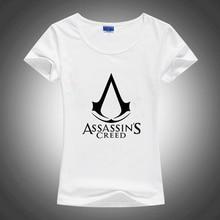 Assassin Creed Slim Style Sublimation Print White Tshirt Women T shirt Harajuku T-shirt Tee Shirts Gothic Anime Rock Punk