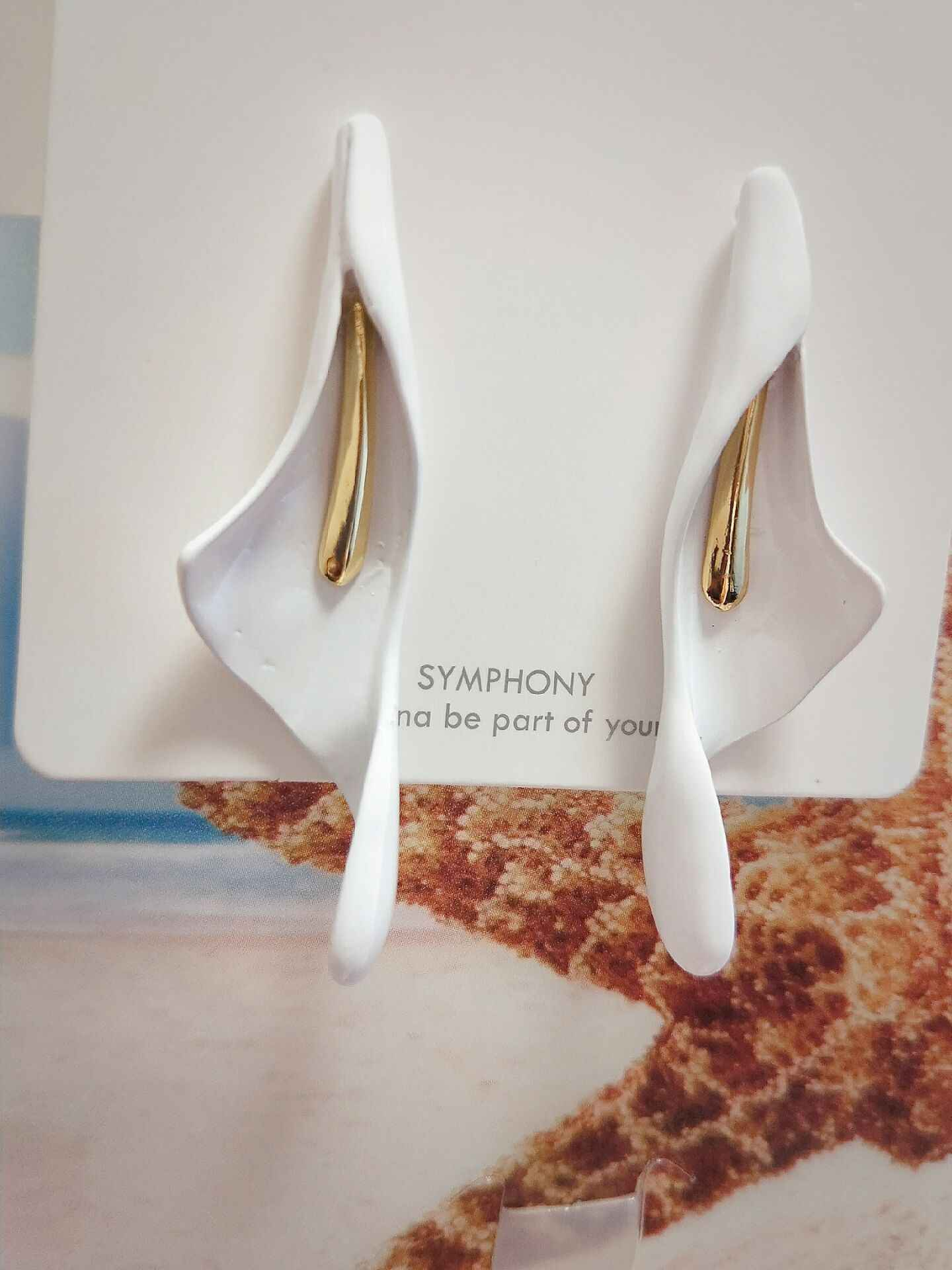 New Classic White Imitation Ceramic Calla Lily flower Drop Earrings Fashion Wedding Bride korean Jewelry For Women girls Gifts