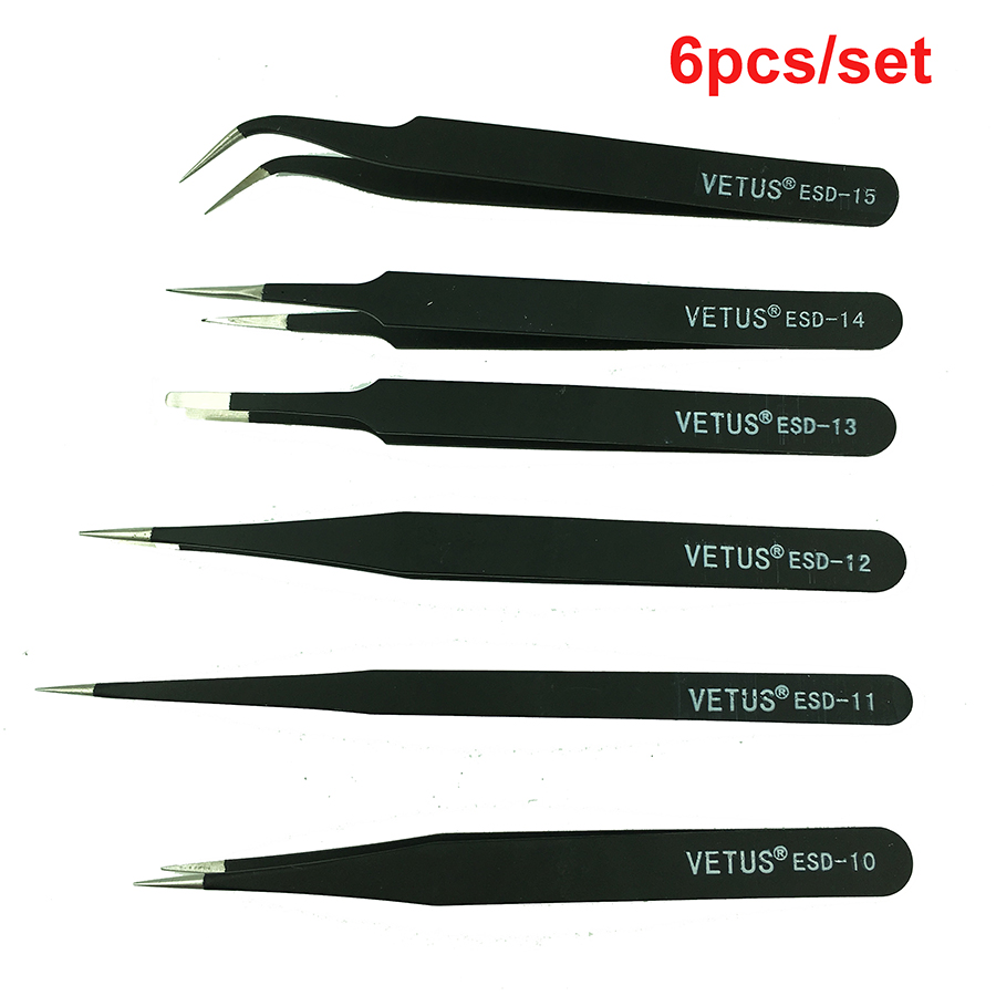 Anti-static ESD BGA Tweezers Tweezer Set  Tweezer Kit   For Soldering Rework ,6pcs/lot ,High Quality