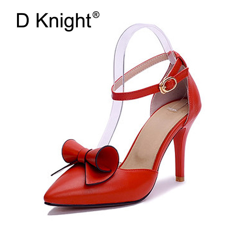 Women's Bowtie Thin High Heels Pointed Toe Wedding Party Shoes Woman Buckle Strap Pumps Summer Casual Shoes Women Sandals 31-43 women pumps flock high heels shoes woman fashion 2017 summer leather casual shoes ladies pointed toe buckle strap high quality