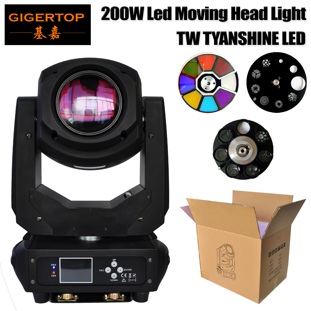 Gigertop TP-L660 200W Led Moving Head Light DMX512/SOUND/AUTO/Master-slave Control 6/18 Channels 3 Facet/6 Facet Lens Zoom Focus ...