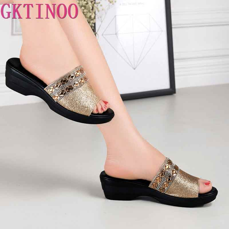 GKTINOO Women Slippers Shoes Genuine Leather Slip on Outside Slides Ladies Fashion Wedges Summer Beach thick sole Flip Flop