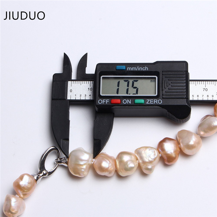 golden white gloss Unusual Good women flat Irregular color few oval shape thickness necklace pearl 17-19mm for necklaces JIUDUO 4