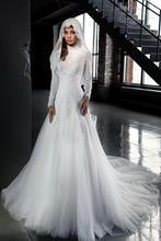 MZYW0202 full long sleeve high neck lace applique with hijab vestido de noiva muslim wedding dress