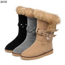 hot deal buy sklfcxzy autumn winter women's boots plush snow boots rivets warm shoes rabbit hair snow boots size 34-42
