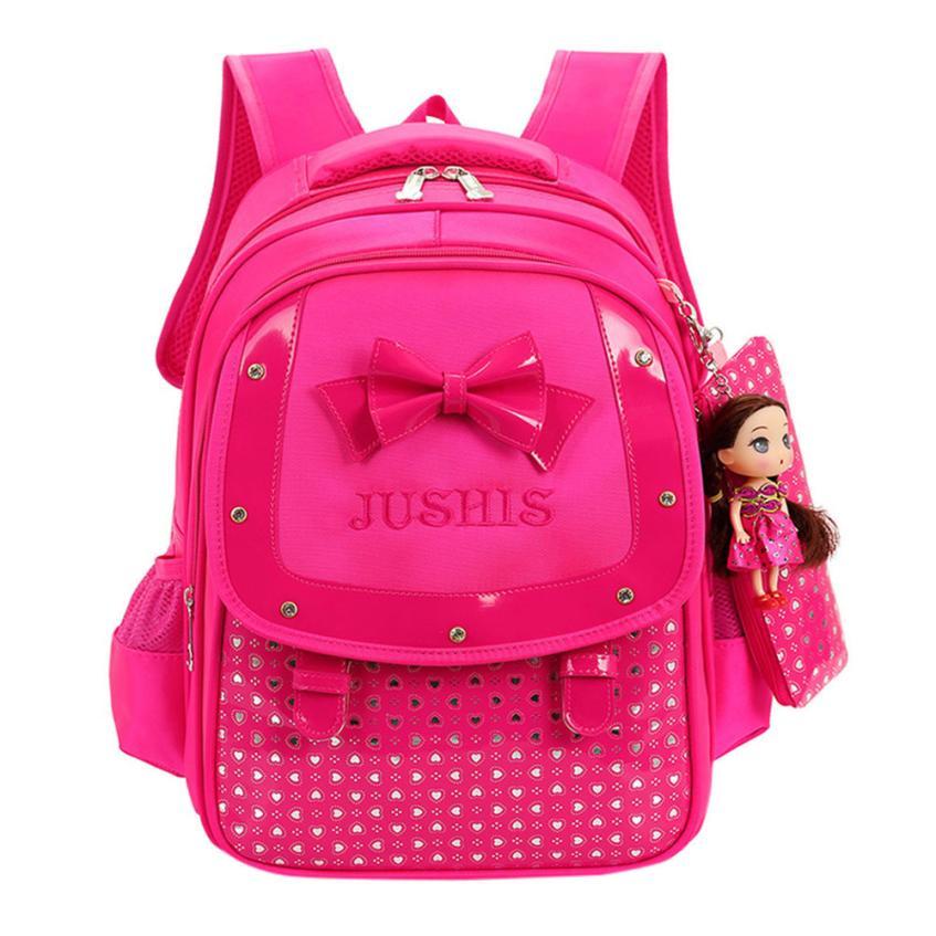 2018 Cute Preppy Style Nylon Baby Girls Kids Bowknot Heart Dot Backpack Toddler School Bag 3Pcs Set wholesale  #xqx