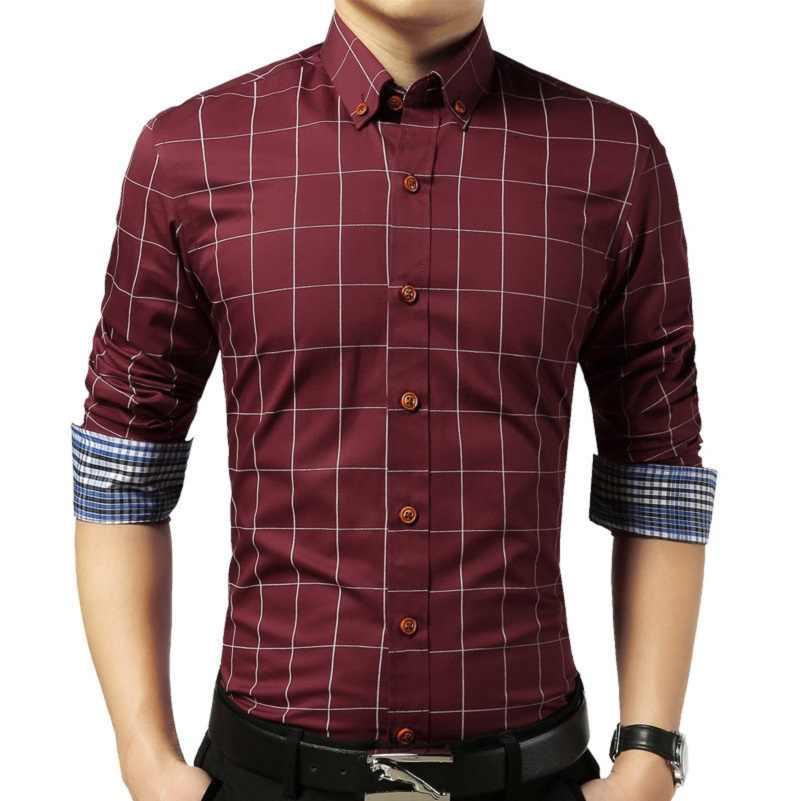 VISADA JAUNA シャツ男性 2017 新着チェック柄スリム長袖カジュアルファッション服ビジネスプラスサイズ 5XL 男シャツ n489