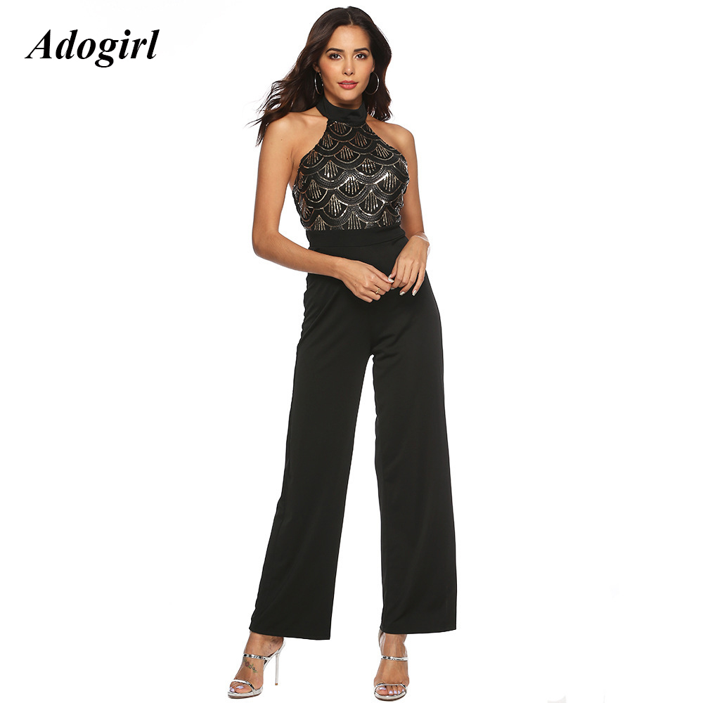 Adogirl Sexy Backless Halter Sequin Jumpsuit Women Elegant Sleeveless Wide Leg Pants Rompers Evening Club Party Slim Overalls