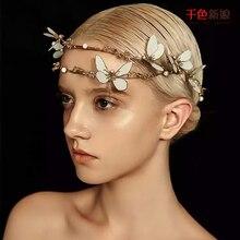 Korean sweet bride butterfly bride crown headdress handmade gilt gold leaf hair bands hair marriage VV02