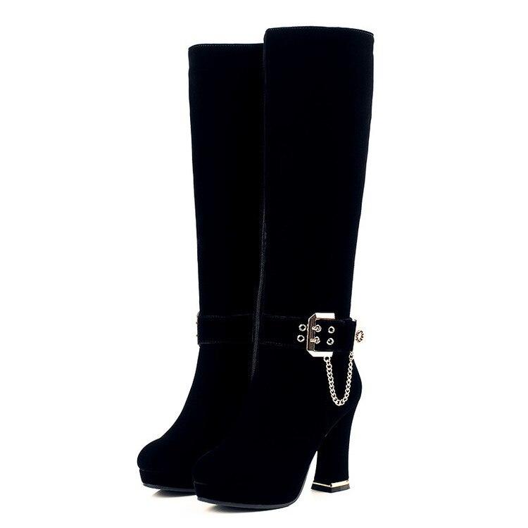 Innen Leder Warm Winter Stiefel Schwarzes Frauen Flock Schnee {zorssar} 2019 Plattform Mode Kniehohe Plüsch Heels Hohe q1xfBFa7wt