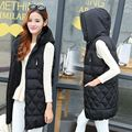 Autumn Winter Womens Long Vest Thick Warm Women Waistcoat Sleeveless Hooded Coat For Female Outwears Down Jacket Lady Plus Size