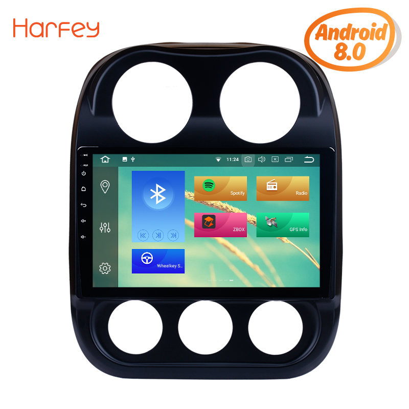 Harfey 8-Core Android 8.0 Car GPS Multimedia Navi Stereo Player For <font><b>2014</b></font> 2015 <font><b>Jeep</b></font> <font><b>Compass</b></font> With HD 1024*600 Touch Screen 4G image