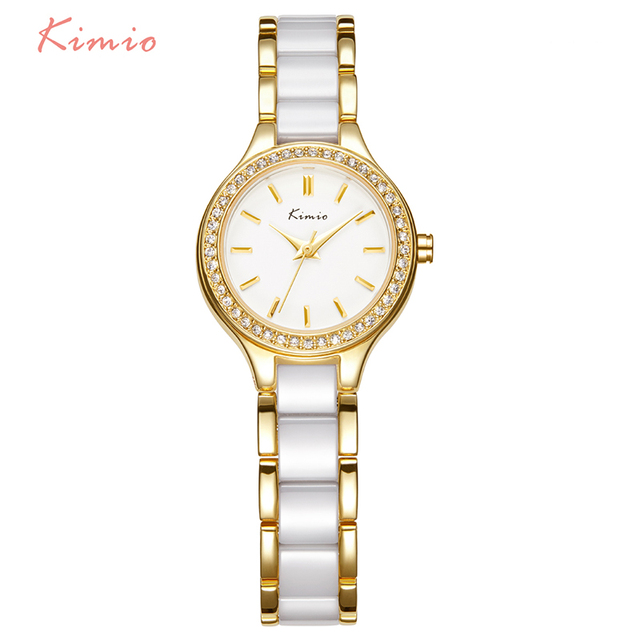 KIMIO Brand Rhinestone Watches Women Imitation Ceramic Strap Bracelet Watch Ladi