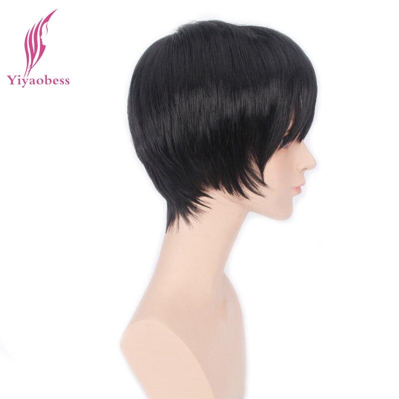 Yiyaobess 6 дюймов атака на Титанов Косплэй парик короткие чёрный; коричневый Искусственные парики для вечерние Синтетические волосы 3 цвета