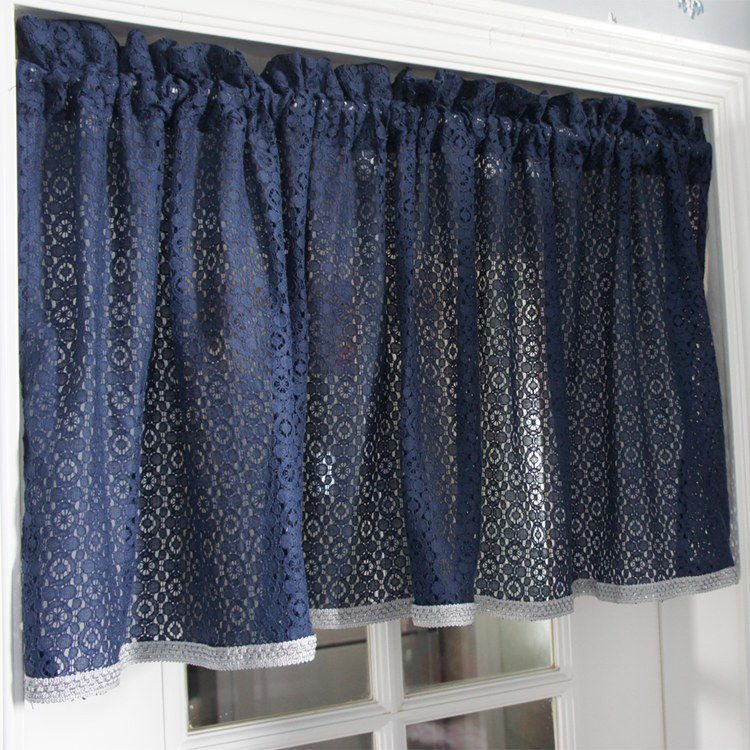 Free Shipping Blue Lace Pastoral Material Translucidus Kitchen Curtains For  Living Room Bedroom Drapes Short Curtain