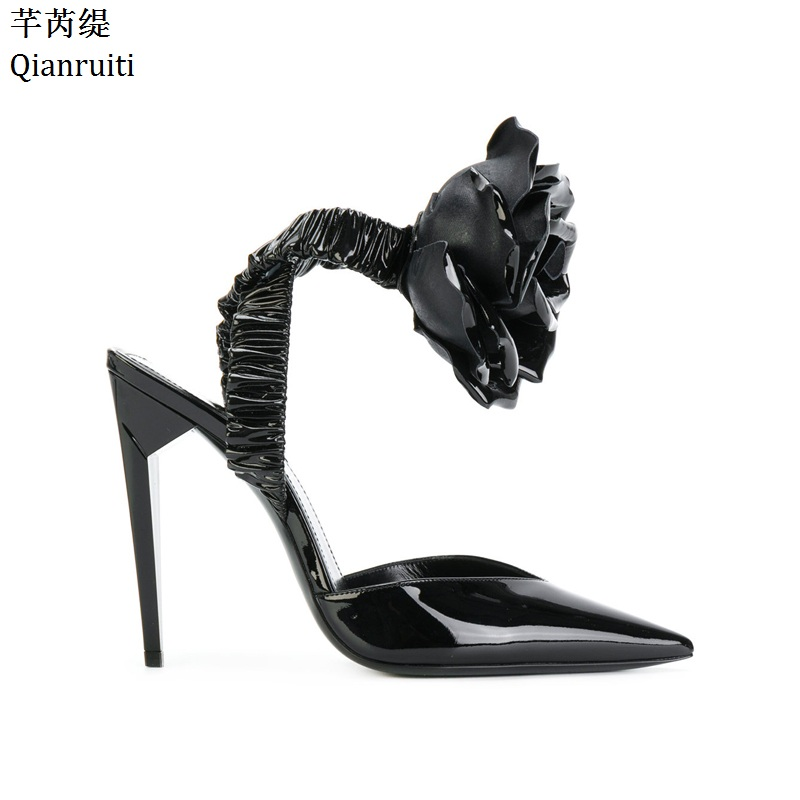 Qianruiti Black Patent Leather High Heels Women Sandals Strappy Elastic Band Rose Women Shoe Sexy Pointed Toe Women Pumps 42mm parnis black dial multifunction sapphire glass black leather strap 26 jewels miyota 9100 automatic mens watch