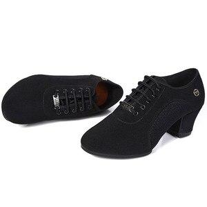 Image 4 - Chaussures de danse pour femmes, baskets de danse à talon moyen en tissu à semelle souple, antidérapantes, pour pratique Tango