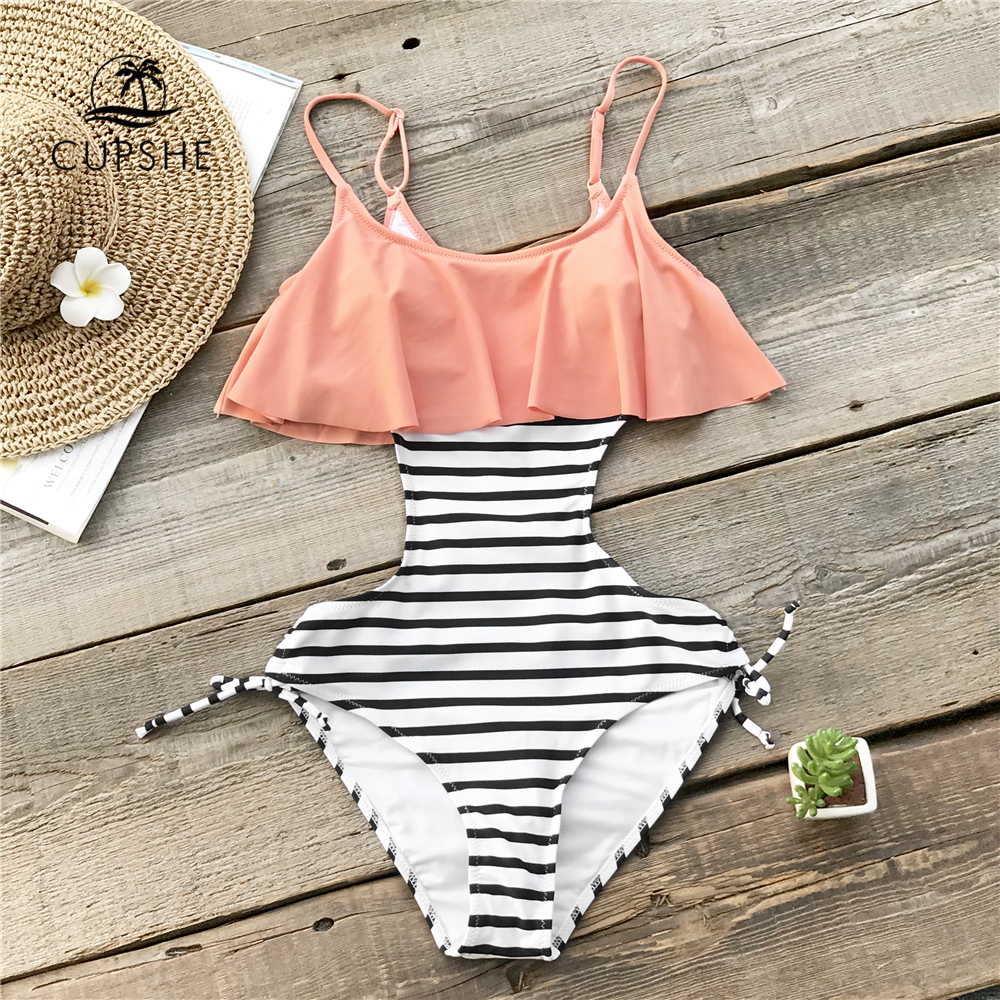 CUPSHE Ruffle One-piece Swimsuit Women Falbala Pink And Striped Beach Bathing Suit Swimwear 2018 Girl Sexy Backless MonokiniCUPSHE Ruffle One-piece Swimsuit Women Falbala Pink And Striped Beach Bathing Suit Swimwear 2018 Girl Sexy Backless Monokini